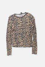 Womens Primark brown leopard pattern animal crinkle blouse top Size S