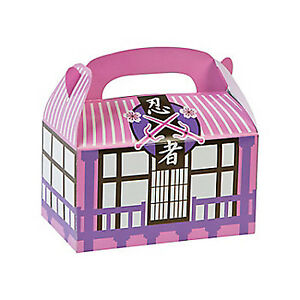 PINK NINJA PARTY Samurai Warrior Treat Box Gift Boxes Pack of 3 Free Postage