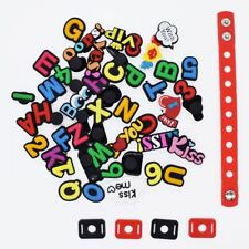 US STOCK 50 Diverse Letters Charms Fits Clog Shoes+1pcs Shoe Lace Adapter Bands