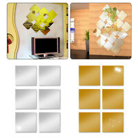 6 PCS Square Mirror Tile Wall Stickers Mosaic Room Makeup Home Decor 3D Adhesive