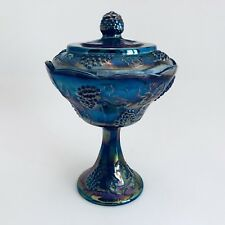 Carnival Indiana Glass Pedestal Compote Grape Harvest Blue Iridescent Candy Dish