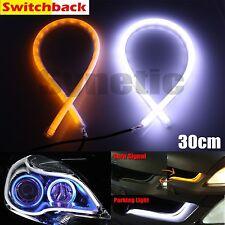 2x 30cm LED Light Strips Tube Switchback White/Amber Flexible DRL Turn Signal