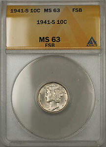 1941-S Silver Mercury Dime 10C ANACS MS-63 Full Split Bands (Better Coin 11)