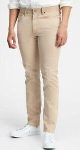 NEW NWT Mens GAP Denim Stretch Slim Fit Jeans Khaki Beige 5-Pocket $59 *E7