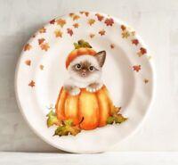 Set of 2 Pier 1 CAT in PUMPKIN Salad Plates Gray White Kitten FALL HALLOWEEN NWT