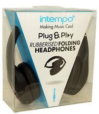 Intempo Over Ears Rubberised Folding Headphones Brand New