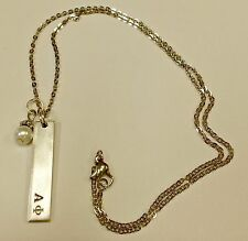 Alpha Phi Bar Necklace w/pearl dangle, FREE SHIPPING, AP gift, on an 18 in chain