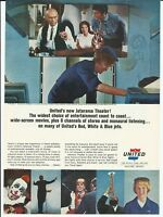 1965 United Airlines Planes Stewardess In Flight Movie Photo Vintage Print Ad
