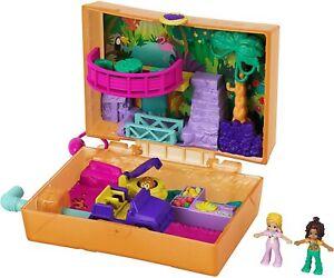 Polly Pocket Jungle Safari Compact, 2 Micro Dolls & Accessories NEW TOY GJK53