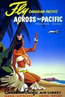 """Vintage Illustrated Travel Poster CANVAS PRINT Fly Canadian pacific girl 16""""X12"""""""