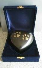 Heart Paw Print Pet Urn Keepsake Solid Brass With Pewter Finish In Velvet Box