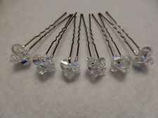 6 x handmade Swarovski crystals clusters on pins bobby style wedding party