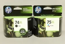HP 74XL Black 75XL Tri-Color Ink Cartridge Genuine New Sealed Box Lot Of 2