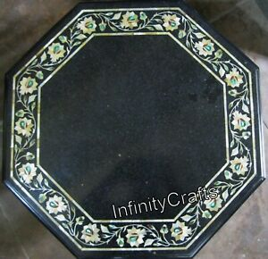 18 Inches Marble Bed Side Table Gemstone Inlaid at Border Elegant Coffee Table