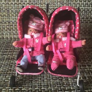 """Doll House Artist Sarah Abbiss Modern Double Baby Stroller w/ 2 baby Dolls 2.5"""""""