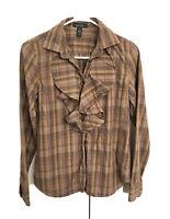 Lauren Jeans Company Ralph Lauren Size XS Brown Plaid Flannel Shirt Top