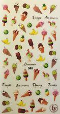 Nail Art 3D Decal Stickers Ice Cream Cone Bananas Ice Cream Sunday  LY048