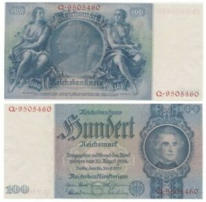 1oo ReichsMarks German banknote issued in 24.06.1935 Q aunc