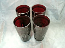 """JG Durand Cristal D'Arques ANTIQUE Ruby Red Set of 4-6 1/4"""" Coolers Tumblers #3"""