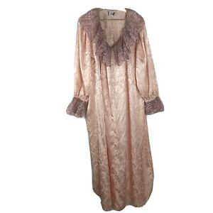 Ruth Norman New York Neiman Marcus Womens Button Down Nightgown XL Pink Ruffle