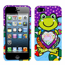 iPhone SE 5S HARD SNAP ON PROTECTOR CASE GREEN PURPLE LOTUS FROG W/ HEART LOVE