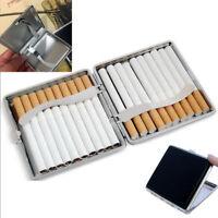 Pocket Leather Metal Tobacco 20 Cigarette Smoke Holder Storage Case Box Black