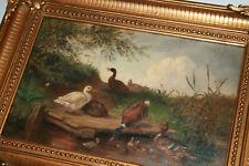 Kleines Ölgemälde ENTENFAMILIE Öl Ölbild Malerei Antik Enten Landschaft