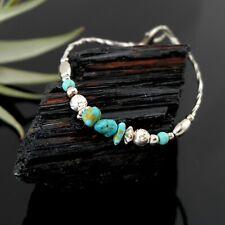 Vtg Sterling Silver Southwestern Turquoise Bead Bracelet
