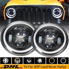 7 Zoll Runde LED Scheinwerfer Halo Angle Eyes für Jeep Wrangler CJ JK LJ 97-18