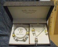 Bella Perlina Charm & Crystal Bead Bracelet Earrings & Necklace Set Silver White