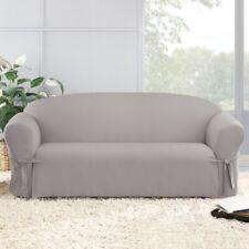 Cotton Duck Sofa Slipcover | Box Cushion | Light Gray | Sure Fit | Open Box