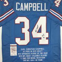 Autographed/Signed EARL CAMPBELL HOF 91 Houston Blue Stat Jersey JSA COA Auto