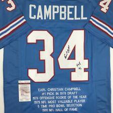 Autographed Signed EARL CAMPBELL HOF 91 Houston Blue Stat Jersey JSA COA  Auto c8914e5ba
