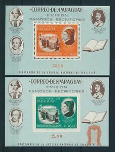 [105531] Paraguay 1966 Writers Shakespeare Goethe Dante 2 Souvenir Sheets MNH