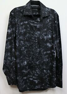 Coogi Luxe Mens Shirt Size Large 15.5/17 Black Button Up Long Sleeve Business