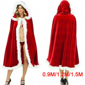 Women Christmas Santa Claus Cloak Costume Red Cape Winter Hooded Clock Hallow YU