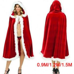 Costume de cape de père noël pour femmes Cape rouge hiver horloge à capuche Mpib
