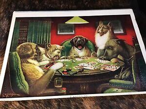 "Vintage CM Coolidge Poker Dogs Print ~ Textured ~ ""A Waterloo"" ~ Mid-Century"