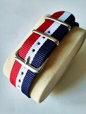 22mm  watch Strap Correa Reloj Nylon Watchband azul rojo blanco red blue white