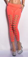 Sexy 7/8 Leggings mit cut-outs Löcher Party Go Go  Größe UNI 34/36/38 Neoncoral