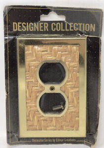 Vintage NOS EDMAR CREATION Electric Outlet Plate Cover WOVEN RUSH & BRASS — NEW