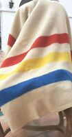 Vintage Golden Dawn Wool Blanket - Red Yellow Blue Stripe Trading - Camp Blanket