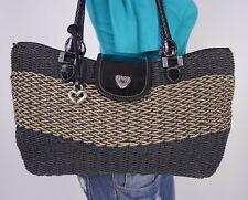 BRIGHTON Medium Black  Tan Straw Leather Shoulder Hobo Tote Satchel Purse Bag