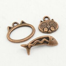 10Sets Red Copper Tibetan Style Animals Cat and Fish Toggle Clasps DIY Findings