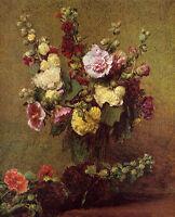 Elegance art Oil painting Latour - Flowers Holly-hocks in vase