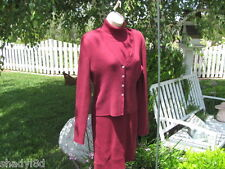 MODA INTERNATIONAL SWEATER DRESS SET Large Maroon Burgundy Career