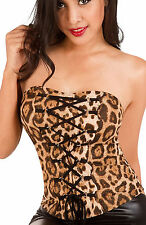 Womens Leopard Print Corset Top Sexy Adjustable Lace Up Bustier Club Party Shirt