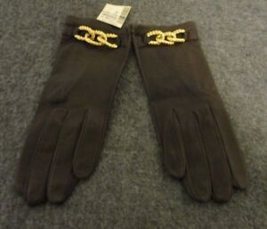 NWT HILLARY PAIGE WOMEN'S GLOVES- BROWN W/ GOLD PLATED CHAIN- SIZE 7- ITALY