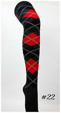 Argyle Check Diamond Stretch Long Knee High Socks Pub Golf Fancy Dress #22 Red Black Charcoal