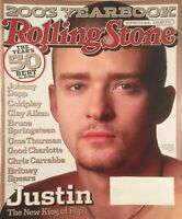 JUSTIN TIMBERLAKE 2003 ROLLING STONE Johnny Depp Britney Spears Coldplay 50 Best